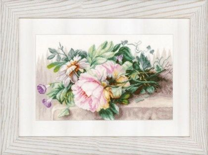 Lanarte Still Life with Peonies and Morning Glory вышивка крестом