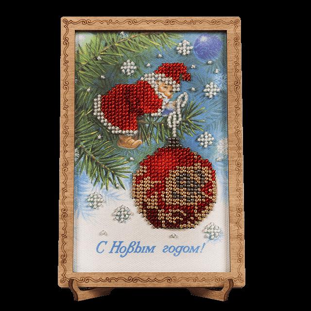Набор для вышивки бисером новогодняя открытка, прикольные картинки